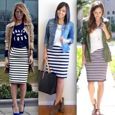 Striped Skirt Outfit, White Skirt Outfits, Stripe Skirt, Casual Pencil Skirt Outfits, Modest Fashion, Fashion Outfits, Black And White Skirt, Spring Outfits, Ideias Fashion
