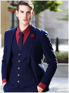 2017 Latest Coat Pant Designs Navy Blue Wedding Suit for Men Formal High Quality Suits Custom Tuxedo 3 Pieces Terno Masculino Navy Pinstripe Suit, Blue Suit Men, Navy Blue Suit, Blue Suit Wedding, Wedding Suits, Formal Wedding, Wedding Events, Blue Coat Pant, Custom Tuxedo