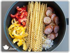 One pot pasta : saucisse de Montbéliard et poivrons