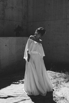 Lola Varma two-piece Parvia cape top and Pula woven skirt.