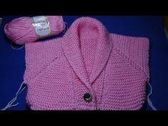 Casaquinho Infantil com gola smoking em tricô TopDown Cast On Knitting, Knitting Videos, Baby Knitting, Knitting Socks, Diy Crafts Knitting, Loom Knitting Projects, Crochet Collar, Knit Crochet, Cute Pixie Cuts