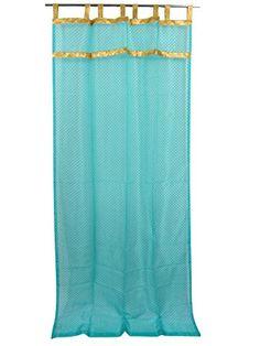 2 India sari Curtains Organza Turquoise Golden Sari Border Sheer Drapes Panel 84 for sale online Sheer Drapes, Sheer Curtain Panels, Window Drapes, Window Panels, Window Coverings, Panel Curtains, Window Treatments, Morrocan Curtains, Indian Curtains