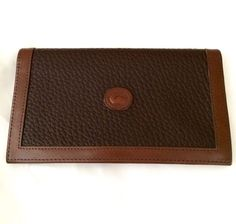 VINTAGE DOONEY & BOURKE BROWN ALL WEATHER LEATHER CHECKBOOK COVER - EUC!
