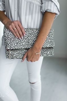 FoldOver Clutch - Snow Leopard