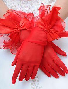 Delicate Satin/Tulle Fingertips Wrist Length Wedding Gloves