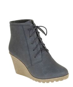 Navy Cherry Lace-Up Bootie