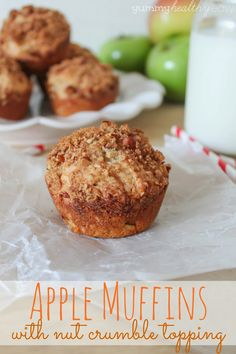 Muffins filled with bits of apple and topped with a delicious crumble topping. Description from yummyhealthyeasy.com. I searched for this on bing.com/images