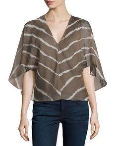 Halston Heritage V-Neck Flutter-Sleeve Striped Blouse, Sage New offer @@@ Price :$295 Price Sale $159