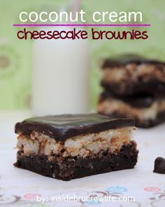Coconut Cream Cheesecake Brownies - brownies topped with a coconut cheesecake and chocolate ganache http://www.insidebrucrewlife.com