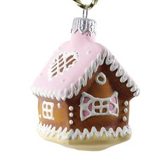 """Cookie - Pink House"" Glass Christmas Ornament."