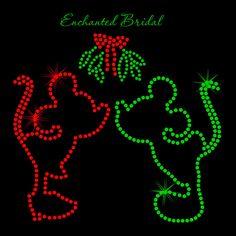 Disney Inspired Minnie and Mickey Kissing Under the Mistletoe Iron On Christmas Colors Rhinestone Transfer DIY on Etsy, $8.50