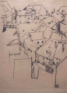 Egon Schiele (At. Crescent of houses in Krumau study for painting Island Town Pencil on paper Painted Island, Drawing Studies, Anatomy Study, Male Figure, Figure Drawing, Animal Drawings, Location History, Art Blog, Oil On Canvas