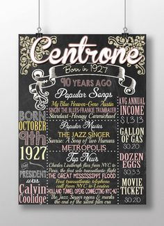 1927 birthday board back in 1927 1927 facts by CustomPrintablesNY