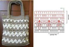 crochet Crochet Diagram, Crochet Chart, Crochet Stitches, Crochet Baby, Knit Crochet, Crochet Patterns, Crochet Clutch, Crochet Handbags, Crochet Purses