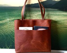 Brown Leather Tote Bag brown leather bag Distressed by sord