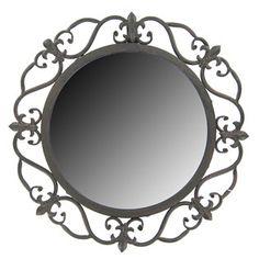 Mahogany Metal Accent Mirror with Fleur-De-Lis