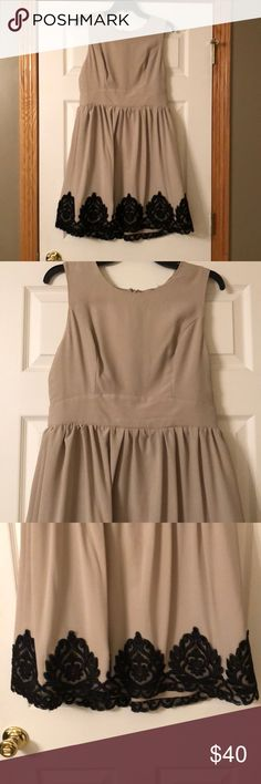 Altar'd State Sleeveless Tan Dress - L Altar'd State Beautiful and elegant tan dress with black lace accents. Zips up the back. I also added a belt around the waist when I wore it one time. Size large. Altar'd State Dresses Midi