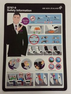 Air New Zealand Boeing Safety Card Air New Zealand, Welcome Aboard, South Pacific, Over The Years, Plane, Board Games, Aviation, Hobbies, Safety