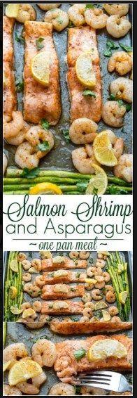 Baked Salmon Shrimp and Asparagus
