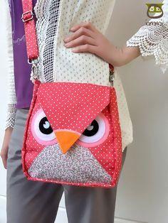 Pinka Dot : Flip sac, chouette sac, Besaces, fourre-tout, animal, femmes, sac enfant, sac enfants, sac tissu, sac de fille, sac garçon, dot poka, iammie