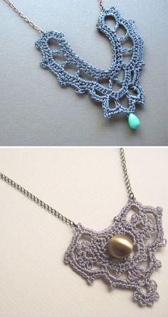Crochet necklaces via ModaMuse