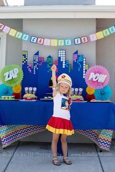 Superhero Birthday Girl from a Chic Superhero Birthday Party via Kara's Party Ideas | KarasPartyIdeas.com | The Place for ALL Things Party! (15)