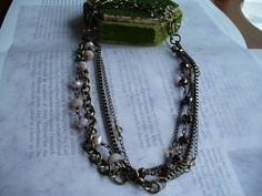 ANTIQUED BRASS NECKLACE, With a mix of chains and lovely glass beads by PrettyThingsBijoux www.etsy.com/shop/PrettyThingsBijoux