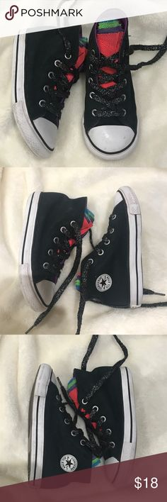 Black high top converse for girl Black with rainbow tongue, black metallic laces and white rubber sole. Some signs of wear but still in great shape. Converse Shoes Sneakers