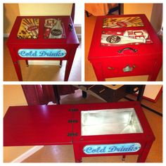 A repurposed 70's sewing machine cabinet into a beverage cart for your patio.