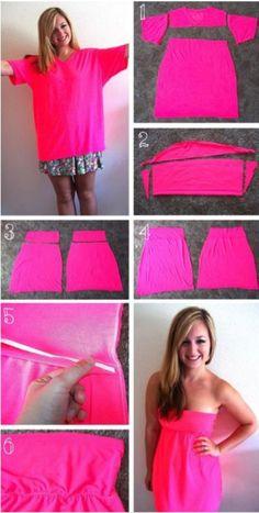 turn a big t-shirt into a dress!!