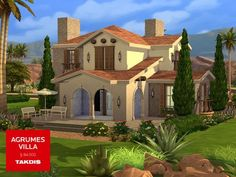 A mediterranean villa with modern lines and warm theme. Found in TSR Category 'Sims 4 Residential Lots' Sims 4 House Plans, Dream House Plans, Architecture Design, Different House Styles, Mission Style Homes, Minecraft Mansion, Muebles Sims 4 Cc, Casas The Sims 4, Sims House Design