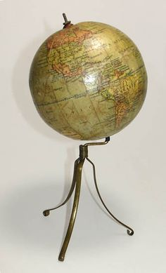 George Philip & Son 4-Inch Terrestrial Table Globe, London: c. 1900-14, on a slender tripod brass stand. Regularly $975, sale price $875 through July 15 (availability subject to prior sale). More information and other current sale items at http://www.georgeglazer.com/news/features.html