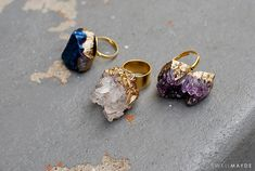 Gold gilded geode rings