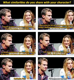 Lol I love this. Theo James (to play Four) with Shailene Woodley (to play Tris Prior) at Comic Con 2013 #SDCC