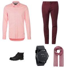 Rood & Roze Outfit outfit - Fashion trends - Bij deze look draait het allemaal om het combineren van de kleuren rood en roze. Het overhemd van Scotch & Soda en de broek van Billabong vullen elkaar mooi aan. De schoenen van Clarks en het horloge van Nixon zorgen voor een kleuraccent. De sjaal van Mexx maakt het geheel af.