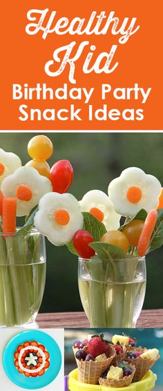 Healthy Kid Birthday Party Snack Ideas! If you are looking for healthy treats to add to your party table or serve for after school snacks, check out these creative food ideas.