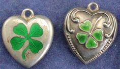 2 ANTIQUE STERLING LUCKY FOUR LEAF CLOVER PUFFED HEART CHARMS GUILLOCHE ENAMEL | eBay