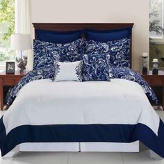 Enzo Reversible Comforter Set in Navy/White - BedBathandBeyond.com