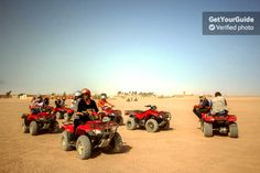 Enjoy an exciting quad bike safari ride through the Egyptian desert! Travel from Hurghada as you jump over sand dunes and zip across the sand to a traditional Bedouin village. Meet the locals and enjoy tea, hookah, and BBQ as you compare your cultures.