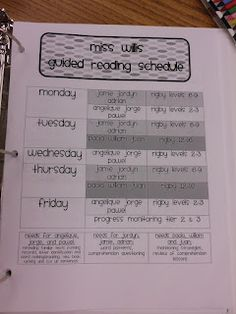 guided rdg teacher log--great for a sub too