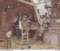 """Loft at St Sylvestre Chapelle"" - James F Scott, 1918. Loft being used as an observation post by AIF soldiers at St Sylvestre Chapelle, near Lys Area, Western Front. This painting..."
