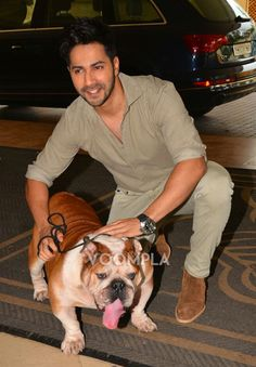 So cute! Varun Dhawan with bulldog named Bradman from the movie Dishoom! via Voompla.com