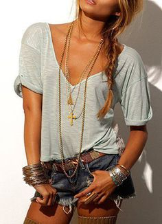 jean shorts, summer styles, summer fashions, summer looks, accessori, necklac, summer outfits, summer clothes, shirt