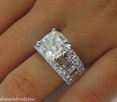 7.36ct Estate Vintage Cushion Diamond Engagement by DiamondViolet