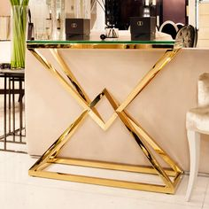 Contemporary Gold Glass Console Table, discovering high end contemporary gold console tables at Juliettes Interiors. Dining Room Console, Modern Console Tables, Console Table Decor, Dining Chair, Steel Furniture, Luxury Furniture, Furniture Design, Plywood Furniture, Chair Design