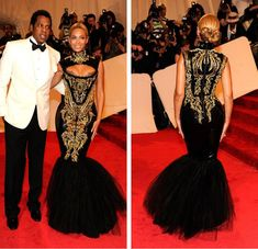 celebrities on the red carpet | Buy Beyonce MET Gala Celebrity Red Carpet Dress High Collar Cut Out ...