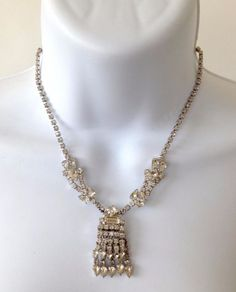 Vintage 1950's Signed WEISS Silver Tone Rhinestones Pendant Choker Necklace  | eBay