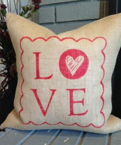 """""""stamp of love"""" Valentine's burlap pillow cover made by www.facebook.com/31stockroom"""
