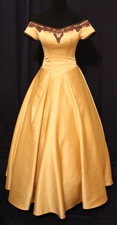 Once Upon A Time Inspired Custom Made Golden Belle Gown Dress Cosplay - Etsy - $475
