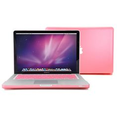 Pink Rubberized-see-through Macbook Pro Hard Case Cover 13 with keyboard cover